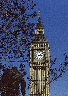 Big Ben Mixed Media - Winston And Big Ben by Anthony Dalton