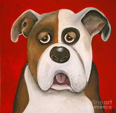 Dog Caricature Painting - Winston The Dog by Caroline Peacock