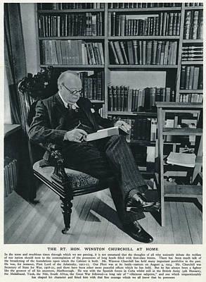 Winston Churchill  At Home, Reading Art Print by  Illustrated London News Ltd/Mar