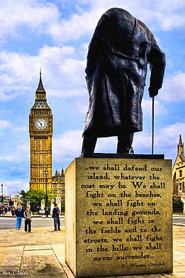 The Clock Photograph - Winston Churchill - Immortal Words - Never Surrender by Mark E Tisdale