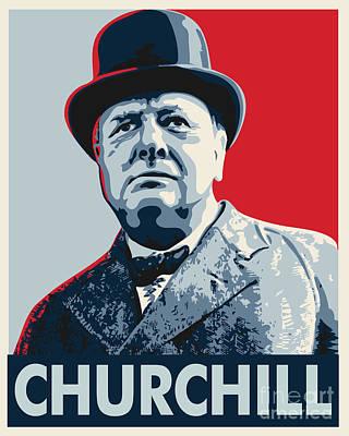 Conservative Digital Art - Winston Churchill by John Lehman