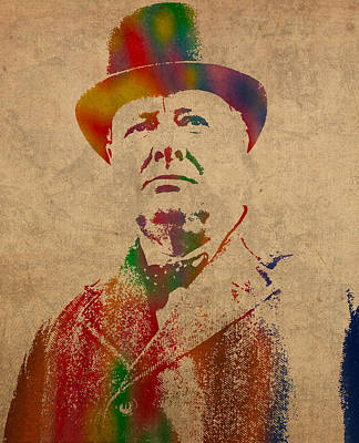 Wall Art - Mixed Media - Winston Churchill Watercolor Portrait On Worn Parchment by Design Turnpike