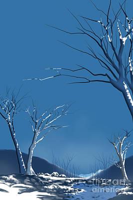 Creek Mixed Media - Winter Abstract by Bedros Awak