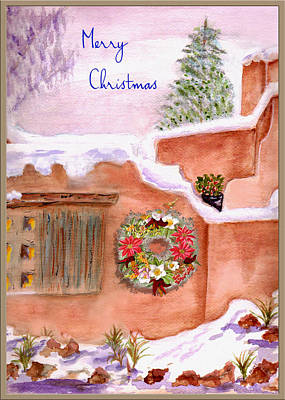 Mixed Media - Winter Adobe Merry Christmas Card by Paula Ayers