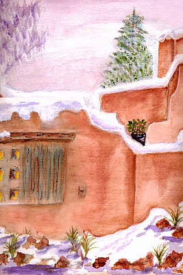 Art Print featuring the painting Winter Adobe by Paula Ayers