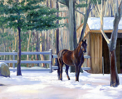 Morgan Horse Painting - Winter Afternoon by Alecia Underhill