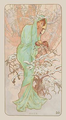Bird Woman Falls Painting - Winter by Alphonse Mucha