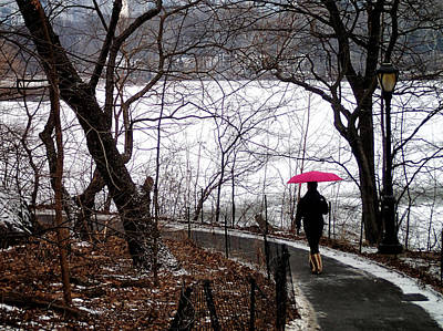 Photograph - Winter And A Pink Umbrella by Cornelis Verwaal