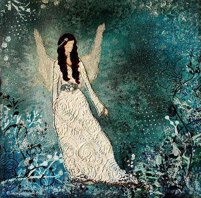 Winter Angel Inspirational Christian Mixed Media Painting  Original