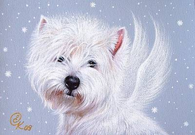 Puppies Mixed Media - Winter Angel - Westie by Elena Kolotusha