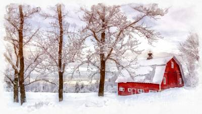 Barn Red Photograph - Winter Arrives Watercolor by Edward Fielding