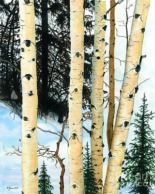 Water Ski Painting - Winter Aspens by Barbara Jewell