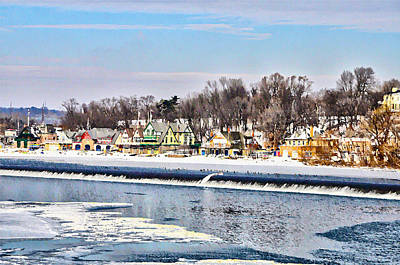 Winter At Boathouse Row In Philadelphia Print by Bill Cannon