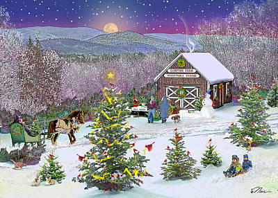 Winter At Campton Farm Art Print by Nancy Griswold