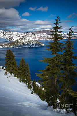 Deep Blue Photograph - Winter At Crater Lake by Inge Johnsson