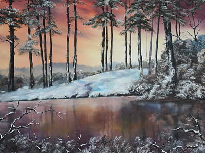 Cannock Chase Painting - Winter At Fairoak Pool Cannock Chase by Jean Walker