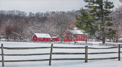 Red Barn In Winter Digital Art - Winter At Hale Farm by Daniel Behm