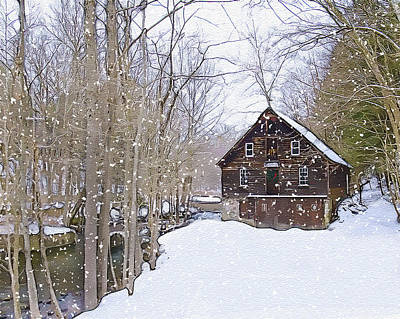 Winter At Kerrs Mill Print by Dave Sandt