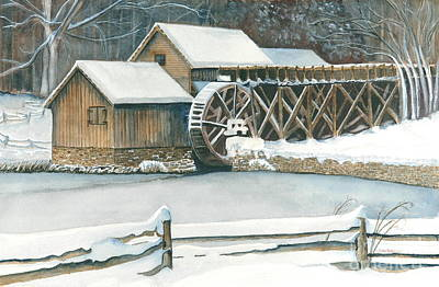 Mabry Mill Painting - Winter At Mabry Mill by John W Walker