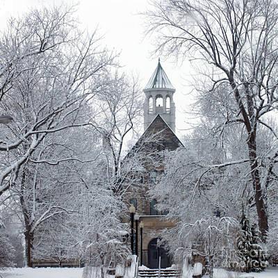 Berea Wall Art - Photograph - Winter At Marting Hall Baldwin Wallace College Berea Ohio by John Harmon