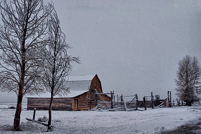 Winter At Moulton Barn  Original by Dave Bower