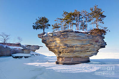 Winter At Port Austin's Turnip Rock Art Print by Craig Sterken