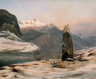 Fjord Painting - Winter At Sogne Fjord by Mountain Dreams
