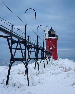 Winter At South Haven Lighthouse Art Print