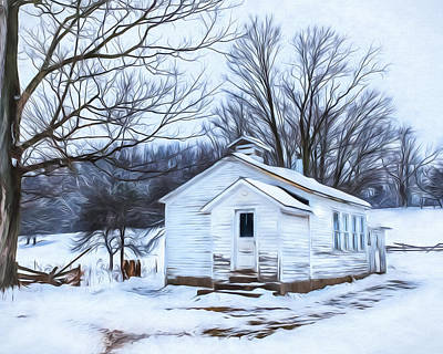 Winter At The Amish Schoolhouse Art Print by Chris Bordeleau