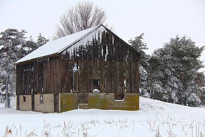 Barns In Snow Photograph - Winter At The Barn by Davandra Cribbie
