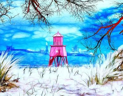 Winter At The Groyne Print by John Lynch