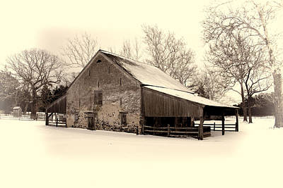 Winter At The Horse Barn Art Print
