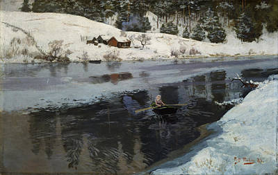 Painting - Winter At The River Simoa by Frits Thaulow