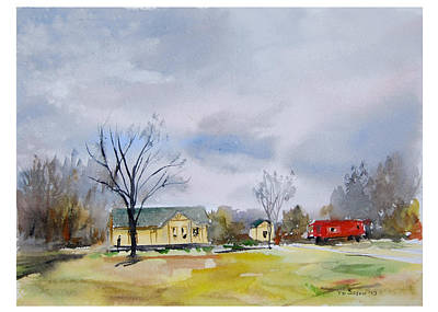 Origional  Sold - Winter At The Train Museum Tomball Tx Original