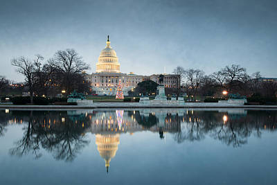 Winter At The United States Capitol Building Art Print