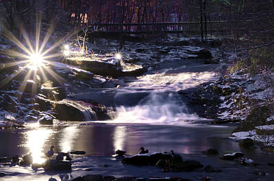 Winter At The Woodlands Waterfall In Wilkes Barre Art Print