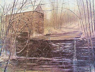Kentucky Landscape Artist Painting - Winter At Wolf Pen Mill by Gerry Furgason