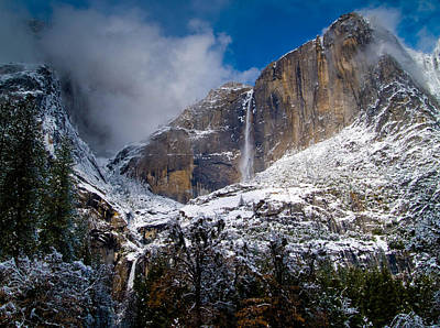 Winter At Yosemite Falls Art Print by Bill Gallagher