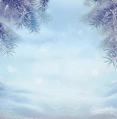 Snow Scene Landscape Digital Art - Winter Background by Mythja  Photography