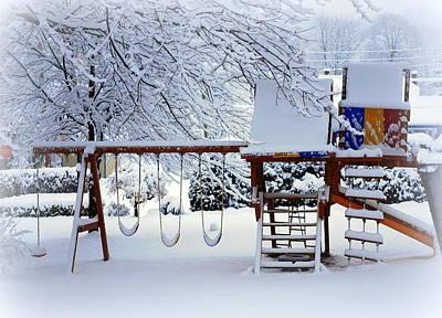 Framed Swing Set Photograph - Winter Backyard by Mary Beth Landis