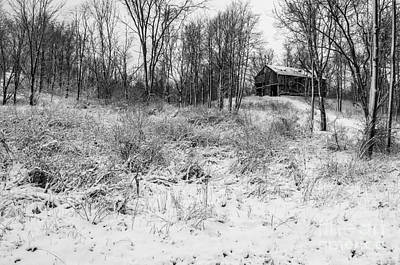 Photograph - Winter Barn 1 - Black And White by Mary Carol Story