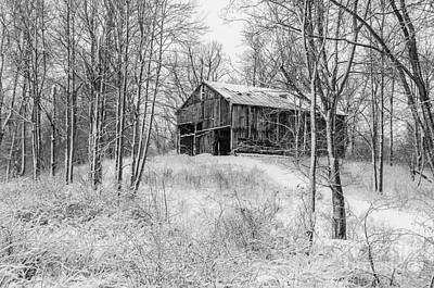 Photograph - Winter Barn 2 - Black And White by Mary Carol Story