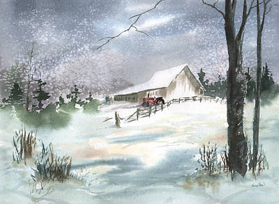 Print featuring the painting Winter Barn And Tractor by Sean Seal
