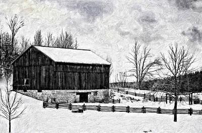 Rural Scenes Digital Art - Winter Barn Impasto Version by Steve Harrington