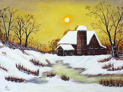 Barns In Snow Painting - Winter Barn by Jerry Behrman