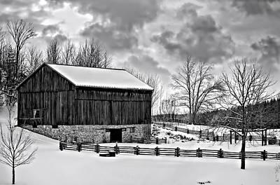 Fence Photograph - Winter Barn Monochrome by Steve Harrington