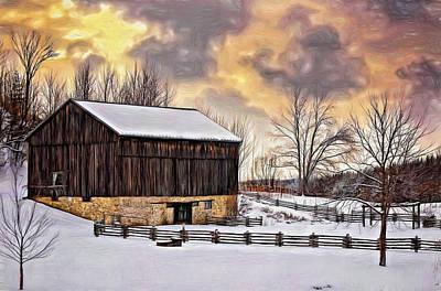 Rural Scenes Digital Art - Winter Barn - Paint by Steve Harrington