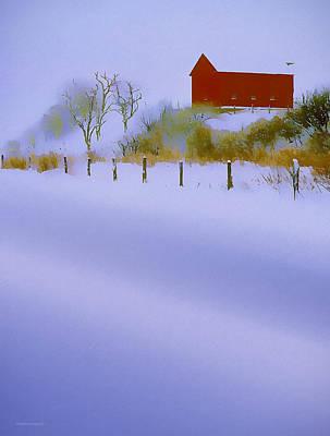 Winter Barn Art Print by Ron Jones