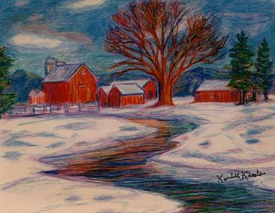 Red Barns Drawing - Winter Barn Scene by Kendall Kessler