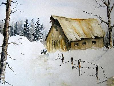 Painting - Winter Barn by Stephanie Sodel